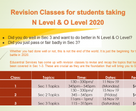 Revision Classes for students taking N Level & O Level 2020